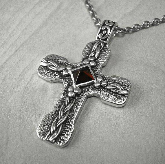 Mens cross necklaceMens silver crossVintage crossantique