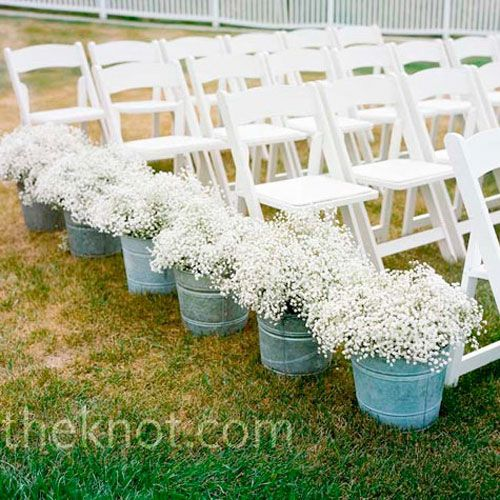 Buckets and baby's breath-adorable and affordable.@Courtney LottOutdoor Wedding, Babies Breath, Ideas, Babybreath, Wedding Aisle, Baby'S Breath, Baby Breath, Aisle Decor, Flower
