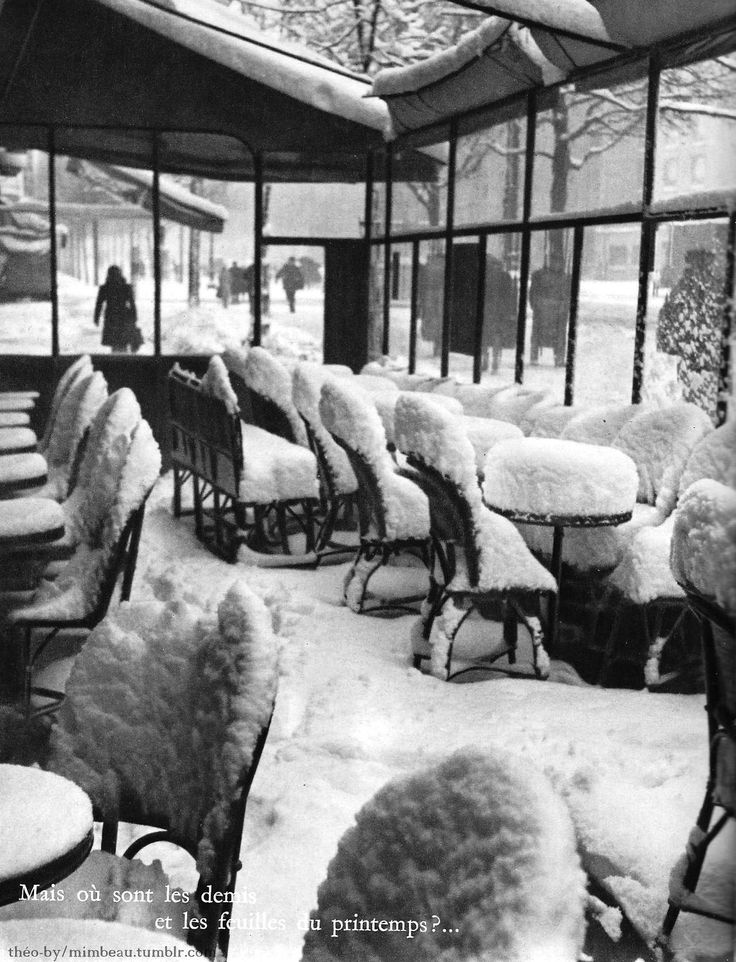 mimbeau:  Café de Flore under the snow Paris 1950s Théo-By