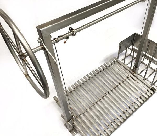 Stainless Steel Argentine Grill Kit for wood or charcoal grilling with side brasero (Fits a 60.5 x 25.75 x 12 Firebox)