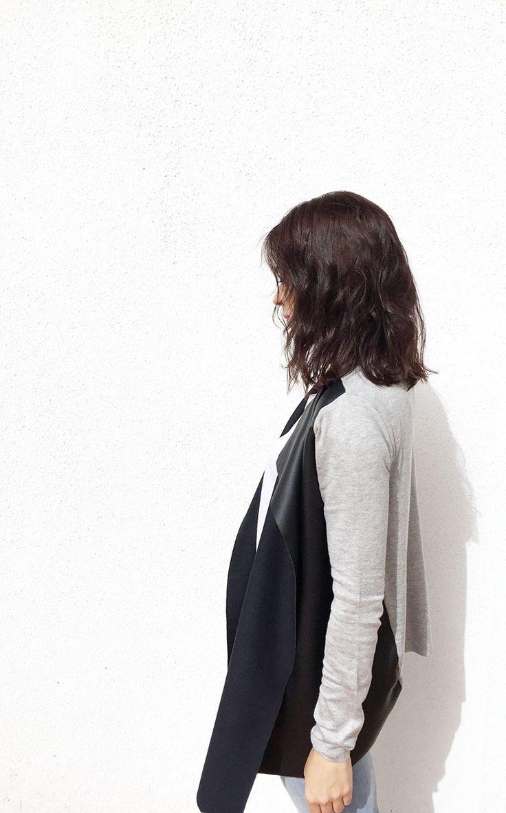 Chaqueta de punto y polipiel de un cardigan básico -DIY- Creativa Atelier