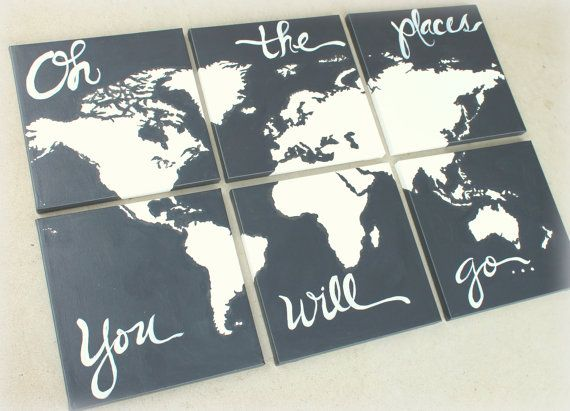 world map canvas . oh the places you will go . 6 - 12x12's . custom colors . hand painted . original on Etsy, $108.00
