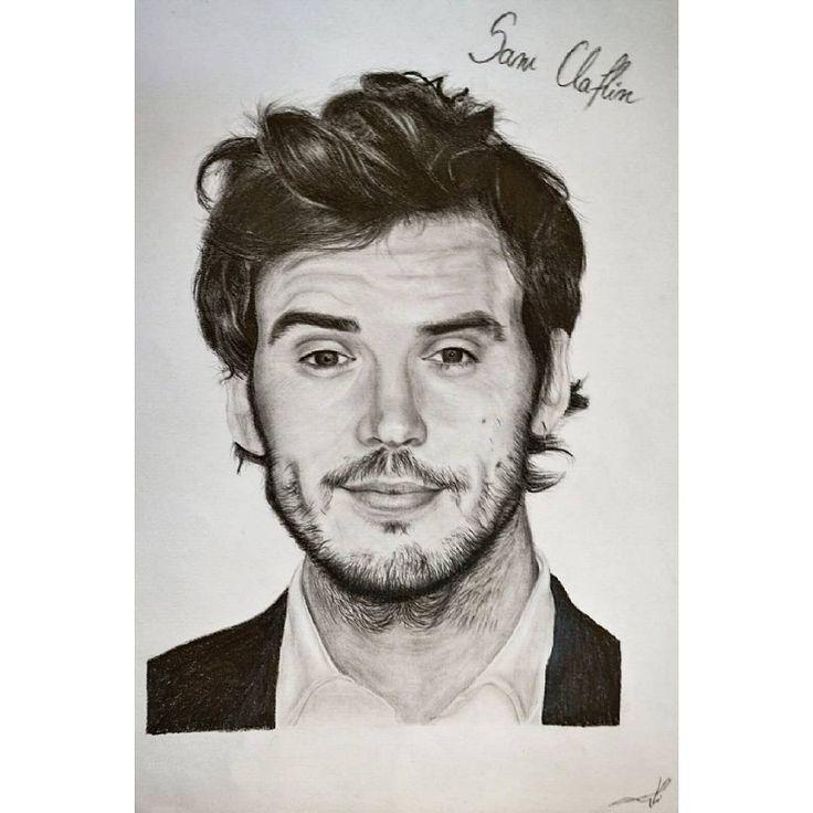 "48 aprecieri, 1 comentarii - @alisaurusart pe Instagram: ""#samclaflin  #art  #portait  #drawing  #actor  #mebeforeyou #hobby #black #white #tv #draw…"""