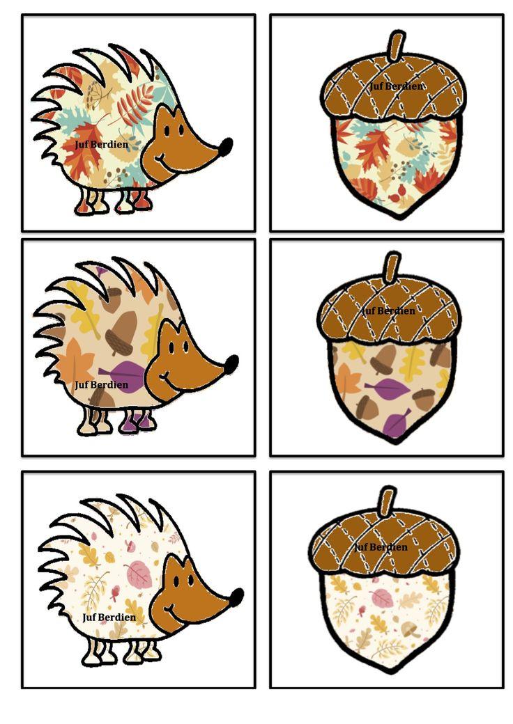 Egel memory  patroon 2 Juf Berdien thema Herfst Herfstdieren volledige spel Facebookgroep: 'Juf Berdien'