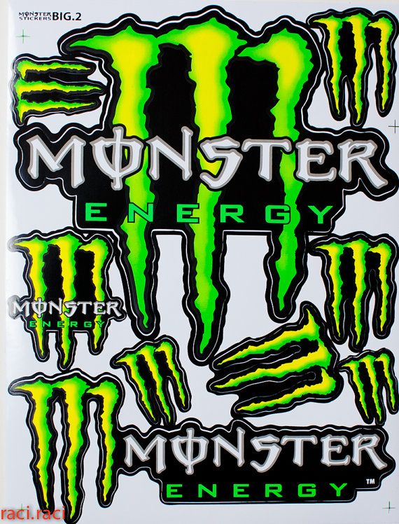 Large green monster energy claws sticker decal supercross motocross bike atv bmx racing skateboard helmut l2