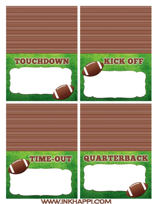 {food label cards} Football free printables for the food table and more!