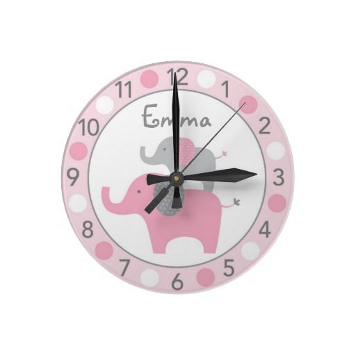 Mod Pink Elephant Personalized Nursery Wall Clock #elephant #baby #clock