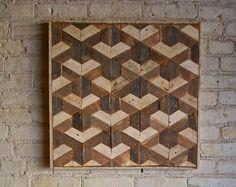 Teruggewonnen hout Wall Art, Decor, lat., patroon, geometrische, zeshoek, mozaïekpatroon 24 x 24