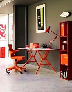 home desk in orange