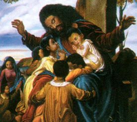 """[African American Art] - Matthew 19:14,  """"But Jesus said, Suffer little children, and forbid them not, to come unto me: for of such is the kingdom of heaven."""""""