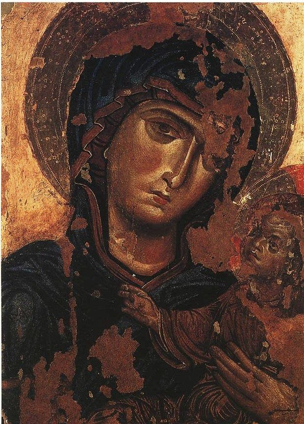 Madonna di Andria. Circa AD 1275. This icon is a creation of a top quality artist/workshop in Constantinople. Andria Cathedral (Cattedrale di Santa Maria Assunta), Andria, Italy