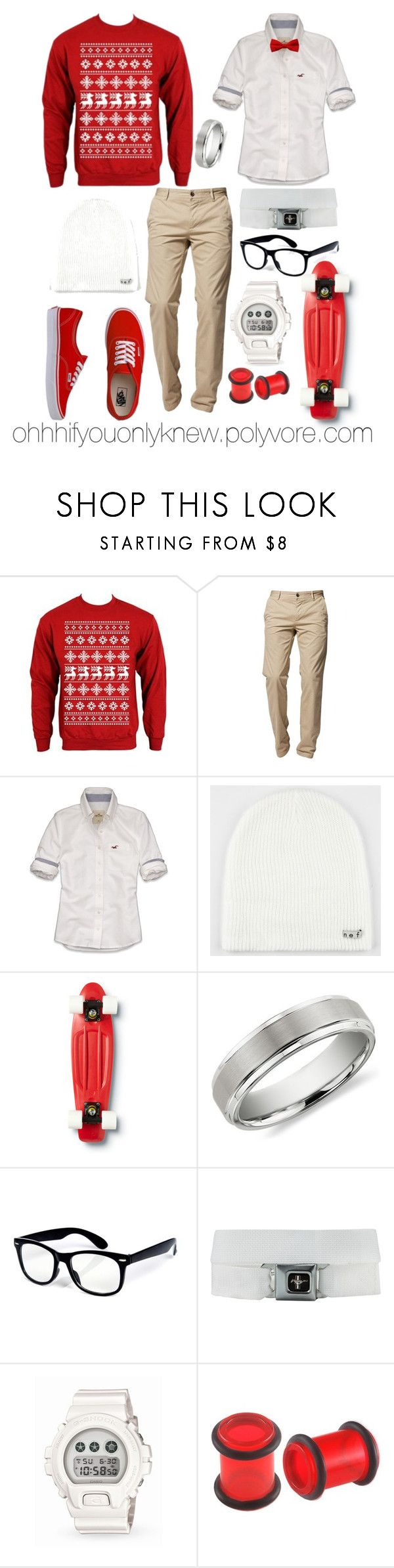 """Merry Christmas! (:"" by ohhhifyouonlyknew ❤ liked on Polyvore featuring BOSS Orange, Hollister Co., Neff, Quiksilver, Vans, Blue Nile, G-Shock, Adax, my style and christmas outfit"