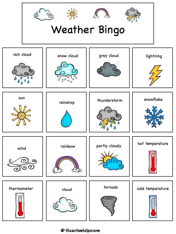 Цветами, погода в картинках на английском