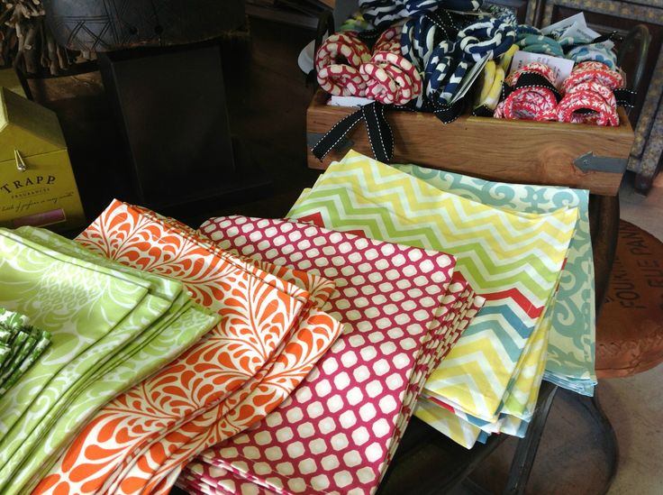 We've got the perfect table top accessories for the summer!    These cute and colorful dinner napkins and napkin rings are great for a pool party, dinner on the patio or just to brighten up your dining table!