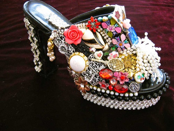 Divalicious Vintage Jewelry Embellished Art by ArtCreationsByCJ,