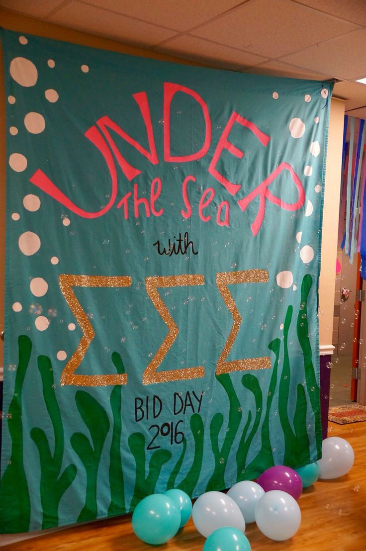 """Under the Sea"" sorority bid day banner"
