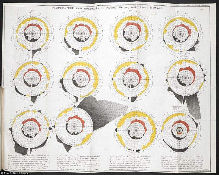 In this diagram William Farr plotted cycles of temperature and deaths from Cholera as he (wrongly) believed that the disease was spread by m...