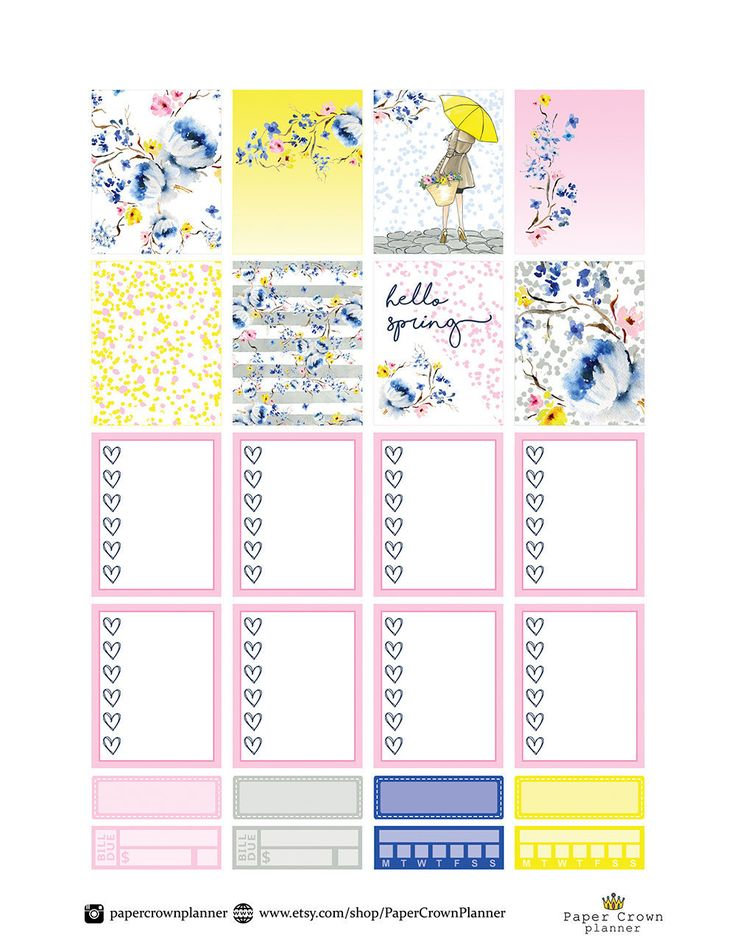 HELLO SPRING Weekly Kit/Printable Planner Stickers/Planner Stickers for use with Erin Condren Life Planner/Weekly Planner Sticker Set