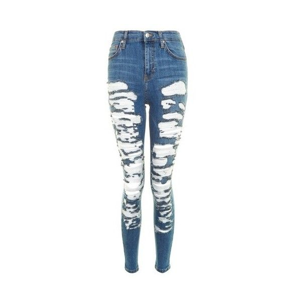 Topshop Moto Extreme Ripped Jamie Jeans ($59) ❤ liked on Polyvore featuring jeans, blue, ripped jeans, high waisted distressed jeans, blue ripped skinny jeans, blue jeans and destroyed skinny jeans