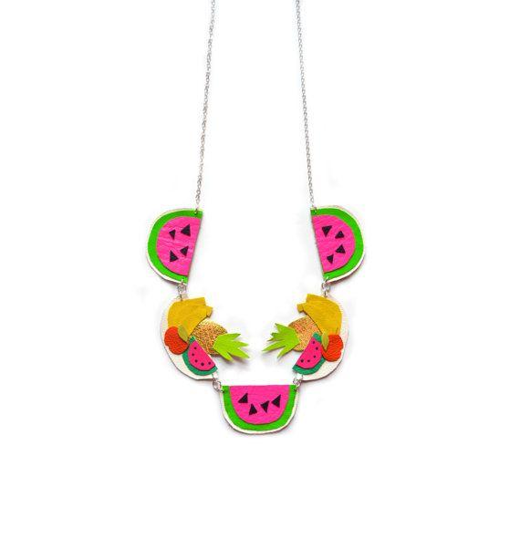 Fruits déclaration collier collier de pastèque par BooandBooFactory