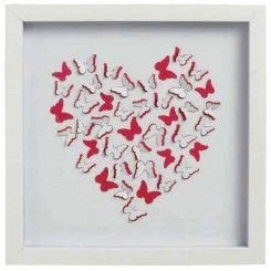 Framed paper art butterflies in heart