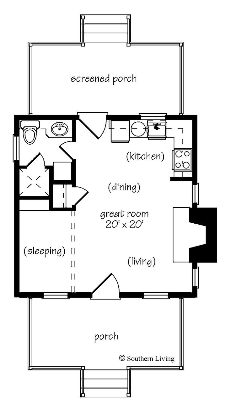one bedroom house plans | Home Plans HOMEPW24182 - 412 Square Feet, 1 Bedroom 1 Bathroom Cottage ...
