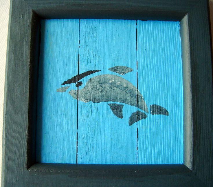 tableau dauphin ,peinture acrylique sur bois,turquoise ,gris : Décorations murales par les-bijoux-de-moe