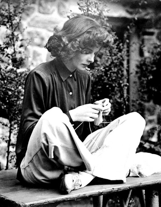I love this picture of Katherine Hepburn knitting :)