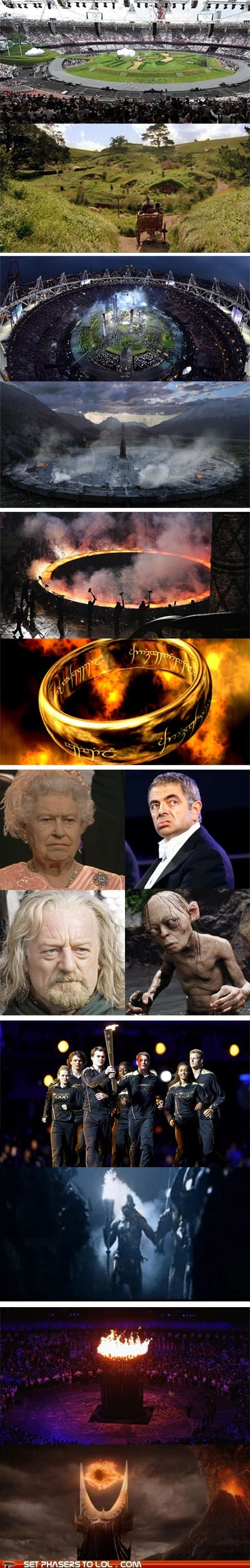 That's what I was thinking, too....The Lord, The Shire, Olympics Games, Open Ceremonies, Funny, Olympics Open, Rings, Middle Earth, Sci Fi
