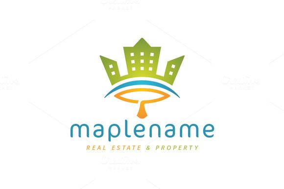 For sale. Only $29 - real estate, realty, Canada, maple, leaf, town, city, house, crown, king, urban, eye, building, arch, green, orange, blue, memorable, modern, playful, simple, stylized, nature, growth, luxury, property, investing, insurance, construction, landscaping, logo, design, template,
