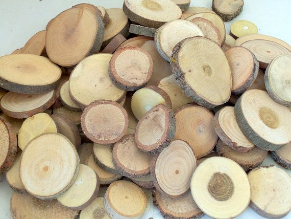 Wood Slices  100 Assorted Unsanded Blank Tree by PebblesAndWoods