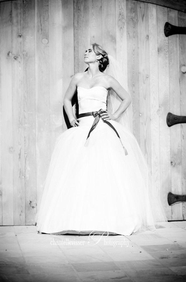 Hoop skirt dress with bow detail Bride in Black & White  | Weddings - Chantelle Visser Photography