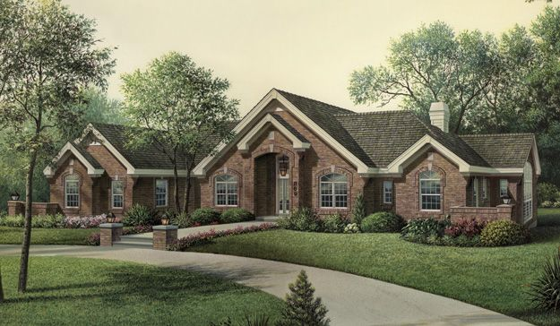 Lovely ranch style home with a large back patio that can for Patio home plans ranch