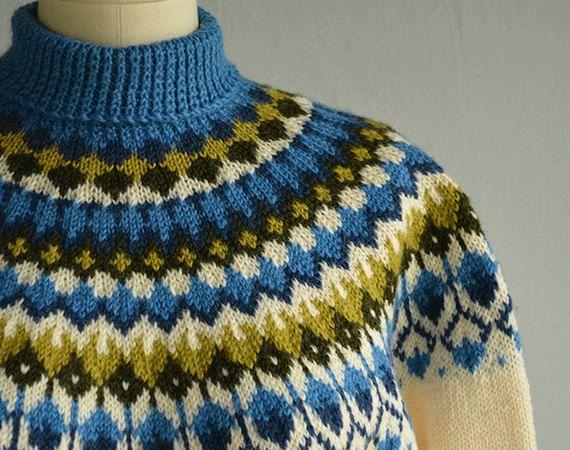 Vintage Nordic Sweater / 60s Hand Knit Wool Fair by zestvintage