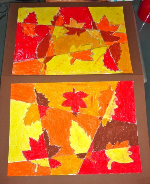 Pastel leaf art (trace leaves and rule line before coloring)