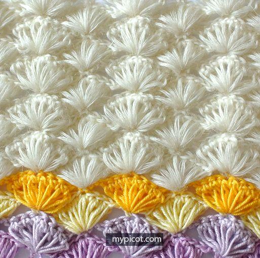 Fluffy Crochet Shells Stitch Tutorial - (mypicot)