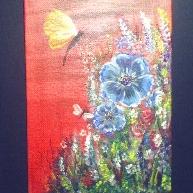 Acrylic art painting flowers and butterflies original