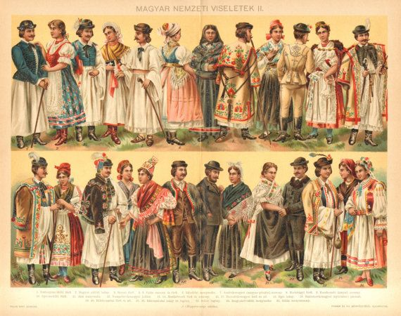 1896 Hungarian National Costumes Folk by CabinetOfTreasures