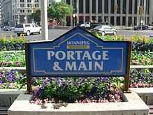 Winnipeg Manitoba-Portage And Main Streets (The Coldest Street Corner In Canada. In The Winter When The Wind Blows From the Praries The Temperature At The Corner Can Sink Down To -50C [-58 F]. Unprotected skin can freeze in 2-3 minutes).