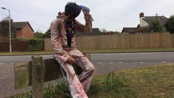 Simon Goldsmith runs 17 times around a village after failing to secure a London Marathon place.