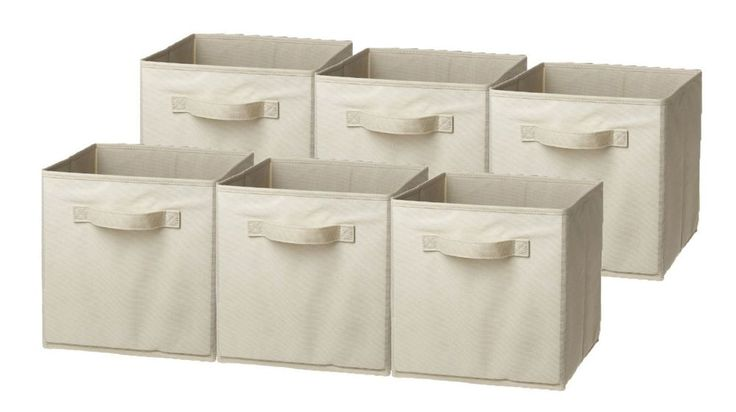 Foldable collapsible Storage Cube Basket Bin containers, 6 Pack, Beige  #Unbranded