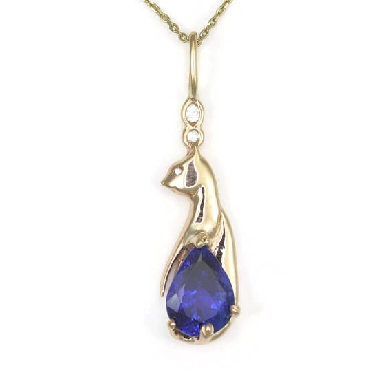 Donna Pizarro Designs Diamond Sapphire Necklace-Celtic cskkCWYkB