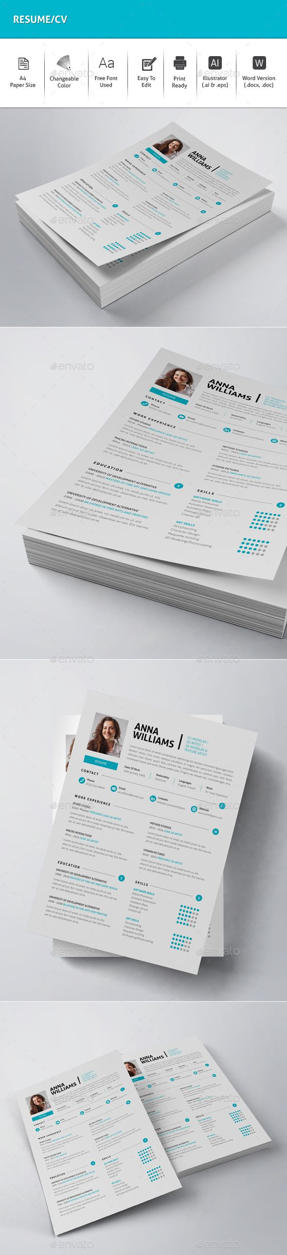 Resume / CV Template Vector EPS, AI Illustrator. Download here: http://graphicriver.net/item/resumecv/16496862?ref=ksioks