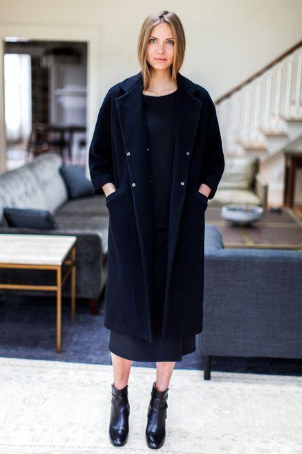 Drop Shoulder Coat - Jet Wool   Emerson Fry