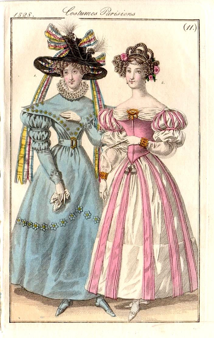 A lovely 1829 fashion plate featuring a walking dress and an evening dress.