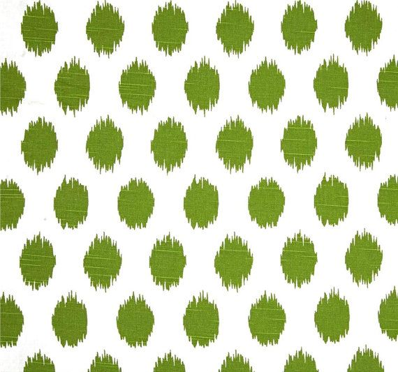Tropical Green Ikat Dots Fabric Designer Cotton Drapery Fabric Curtain Fabric Upholstery Fabric Green Ikat Dots Home Decor Fabric