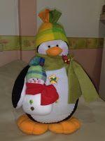 Moldes Para Artesanato em Tecido: Molde de pinguin natal