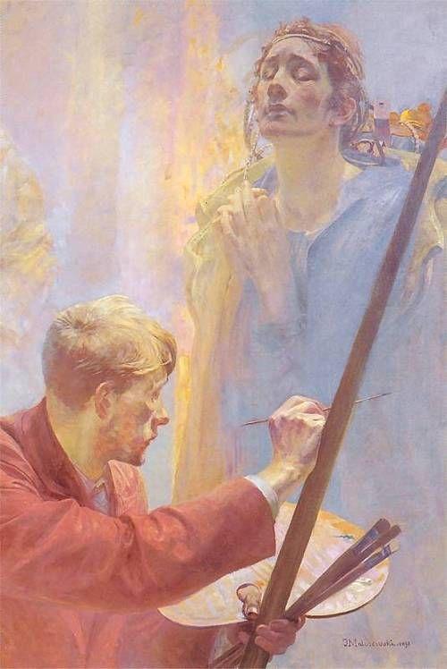 """""""Artysta i Muza"""" - Jacek Malczewski  1898, Oil on canvas"""