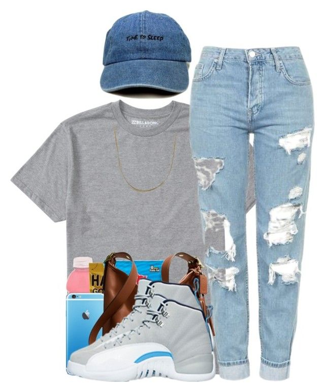 """""""Wednesday's Fit."""" by myia-bored-ass ❤ liked on Polyvore featuring Billabong, Topshop, Coach, NIKE and Sterling Essentials"""
