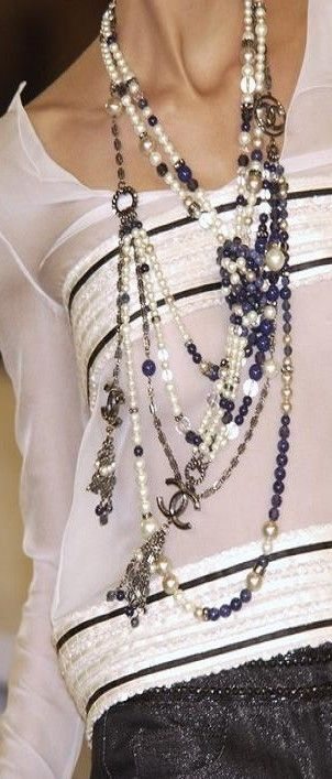 Chanel layering necklaces... love. I will look for #inspiration with my #layering #necklaces